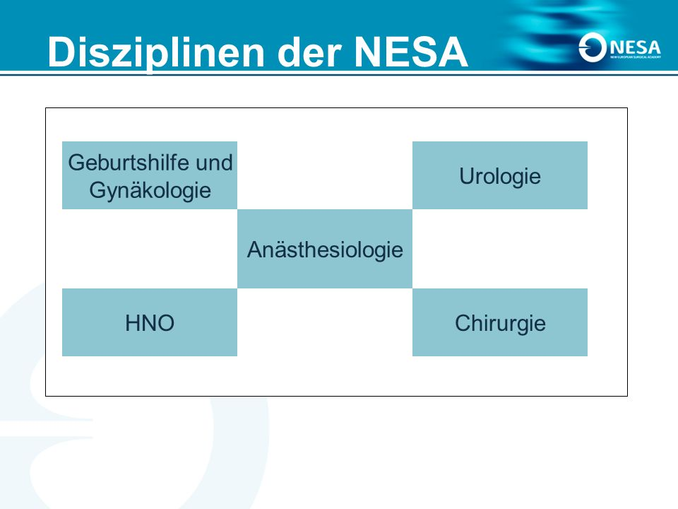 Disziplinen der NESA Geburtshilfe und Gynäkologie HNO Anästhesiologie Urologie Chirurgie