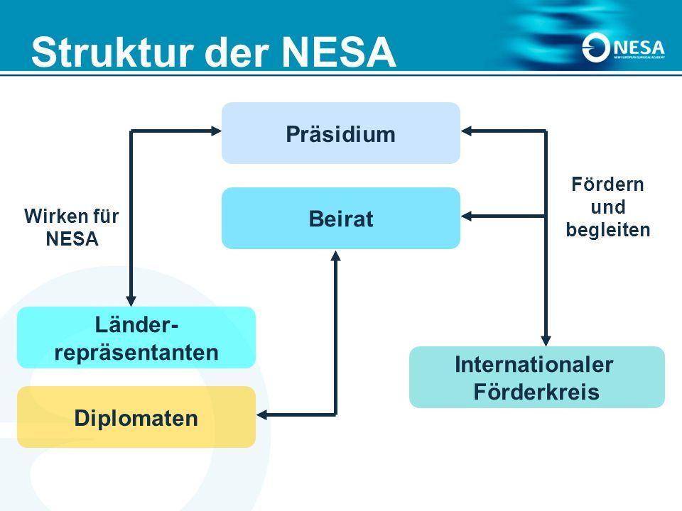 Struktur der NESA Fördern und begleiten Wirken für NESA Präsidium Beirat Internationaler Förderkreis Länder- repräsentanten Diplomaten
