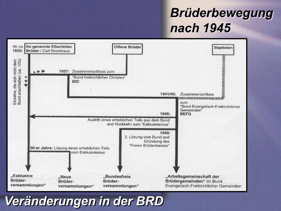 Veränderungen in der BRD Brüderbewegung nach 1945