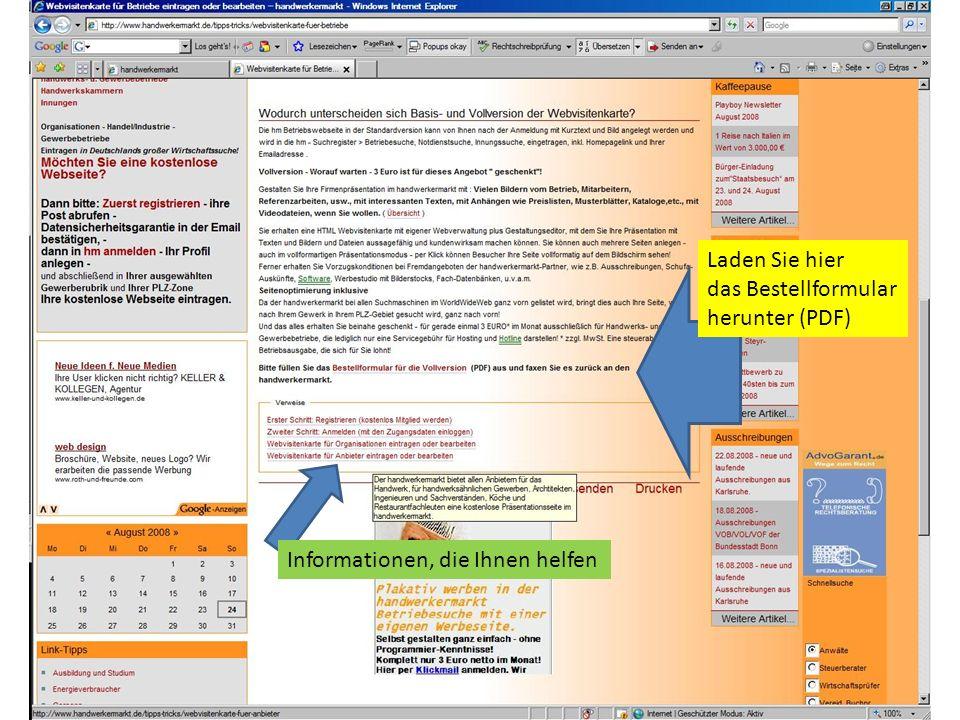Laden Sie hier das Bestellformular herunter (PDF) Informationen, die Ihnen helfen