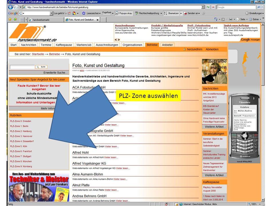 PLZ- Zone auswählen