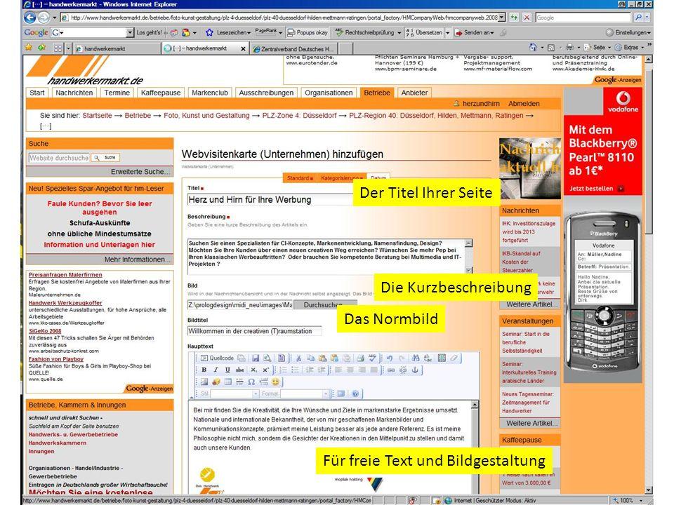 Der Titel Ihrer Seite Die Kurzbeschreibung Das Normbild Für freie Text und Bildgestaltung