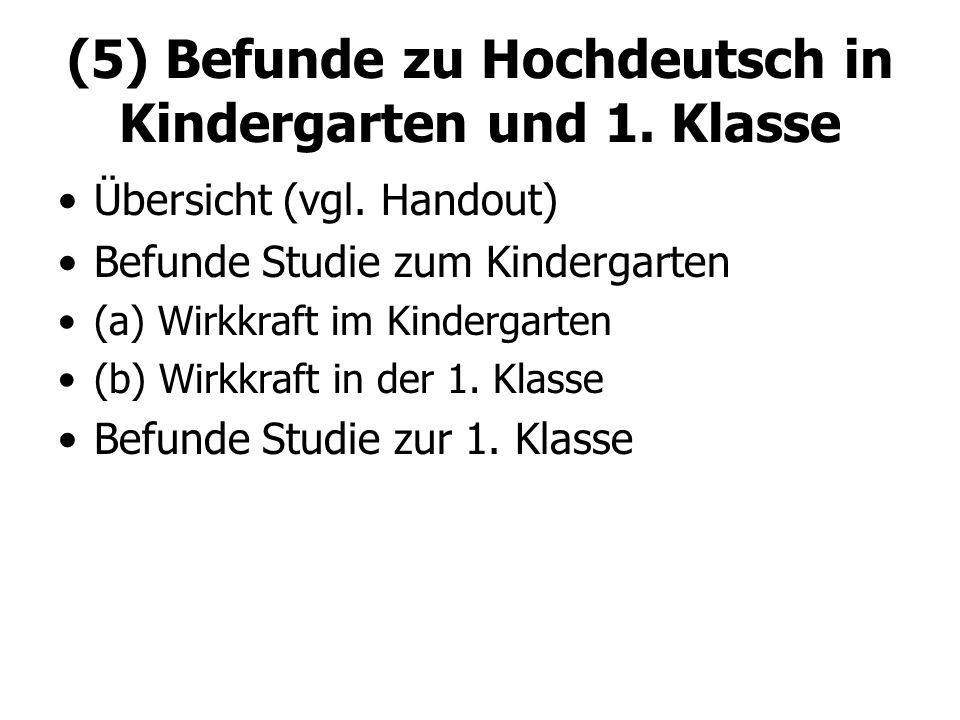 (5) Befunde zu Hochdeutsch in Kindergarten und 1. Klasse Übersicht (vgl. Handout) Befunde Studie zum Kindergarten (a) Wirkkraft im Kindergarten (b) Wi