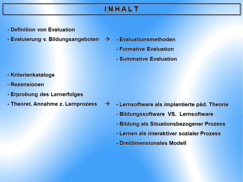 I N H A L T - Definition von Evaluation - Evaluierung v. Bildungsangeboten - Evaluierung v. Bildungsangeboten - Kriterienkataloge - Rezensionen - Erpr