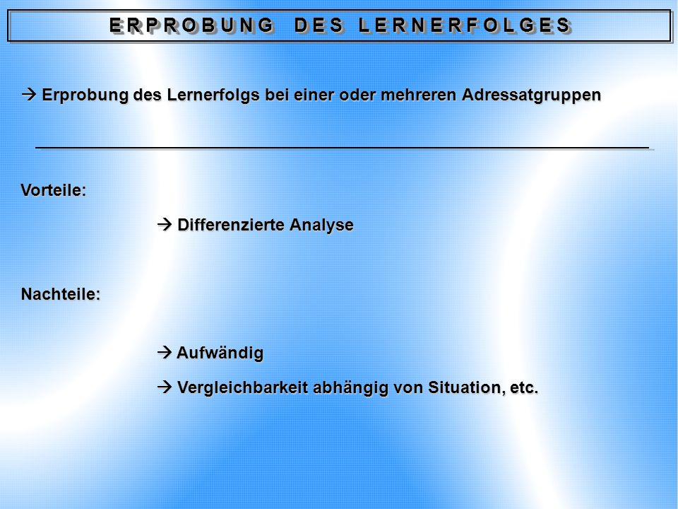 E R P R O B U N G D E S L E R N E R F O L G E S Erprobung des Lernerfolgs bei einer oder mehreren Adressatgruppen Erprobung des Lernerfolgs bei einer