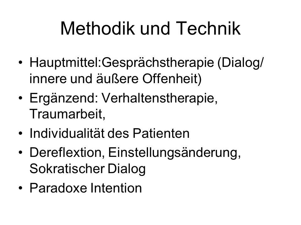 Methodik und Technik Hauptmittel:Gesprächstherapie (Dialog/ innere und äußere Offenheit) Ergänzend: Verhaltenstherapie, Traumarbeit, Individualität de