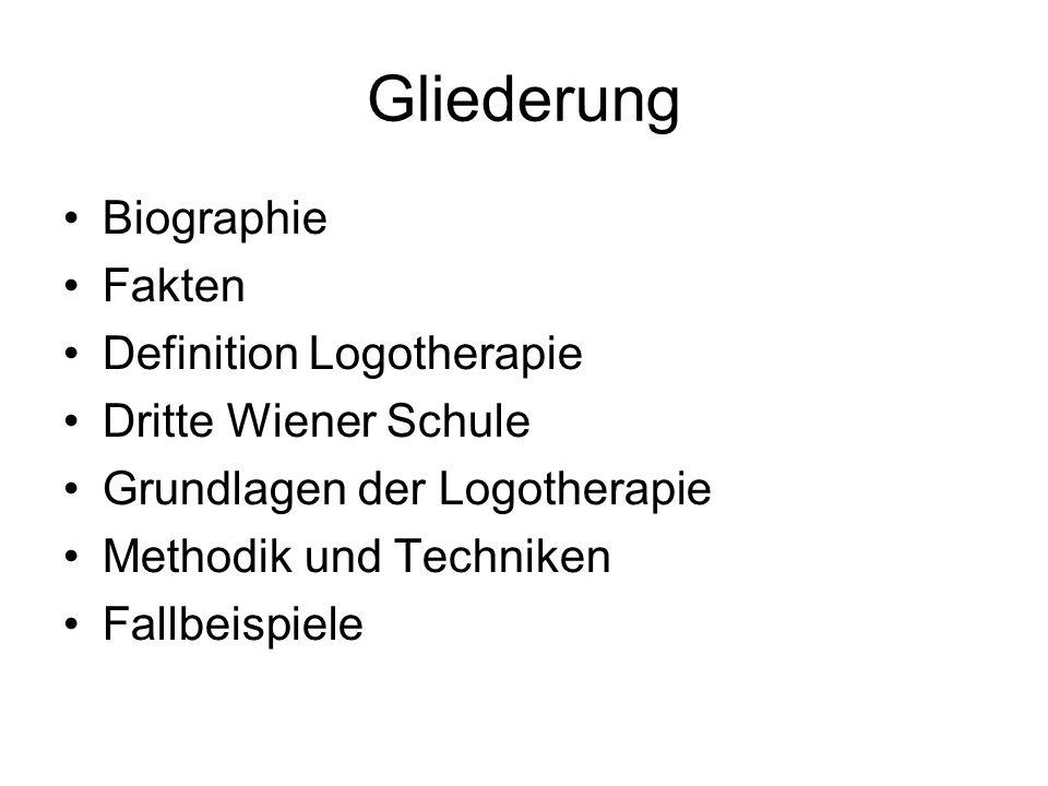 Gliederung Biographie Fakten Definition Logotherapie Dritte Wiener Schule Grundlagen der Logotherapie Methodik und Techniken Fallbeispiele