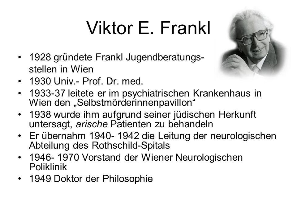 Viktor E. Frankl 1928 gründete Frankl Jugendberatungs- stellen in Wien 1930 Univ.- Prof. Dr. med. 1933-37 leitete er im psychiatrischen Krankenhaus in