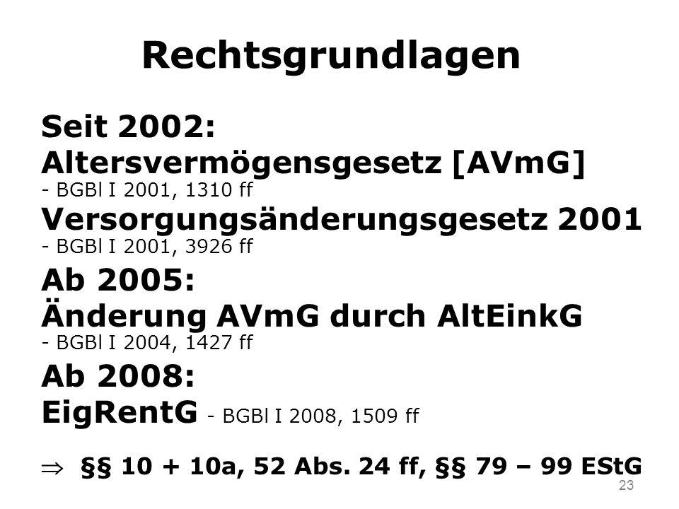 23 Rechtsgrundlagen Seit 2002: Altersvermögensgesetz [AVmG] - BGBl I 2001, 1310 ff Versorgungsänderungsgesetz 2001 - BGBl I 2001, 3926 ff Ab 2005: Änderung AVmG durch AltEinkG - BGBl I 2004, 1427 ff Ab 2008: EigRentG - BGBl I 2008, 1509 ff §§ 10 + 10a, 52 Abs.