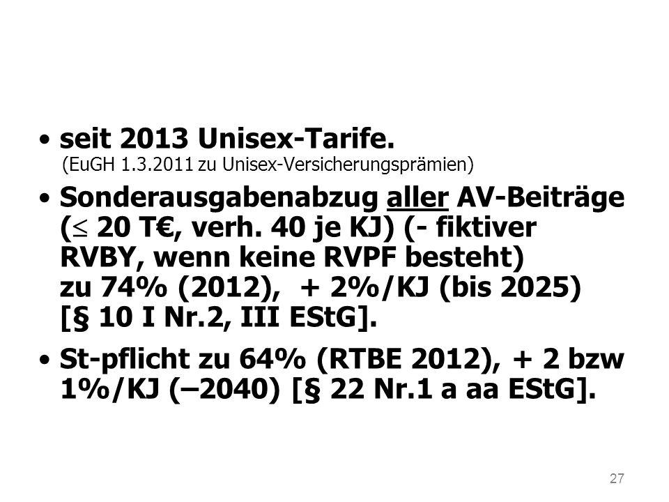 27 seit 2013 Unisex-Tarife. (EuGH 1.3.2011 zu Unisex-Versicherungsprämien) Sonderausgabenabzug aller AV-Beiträge ( 20 T, verh. 40 je KJ) (- fiktiver R
