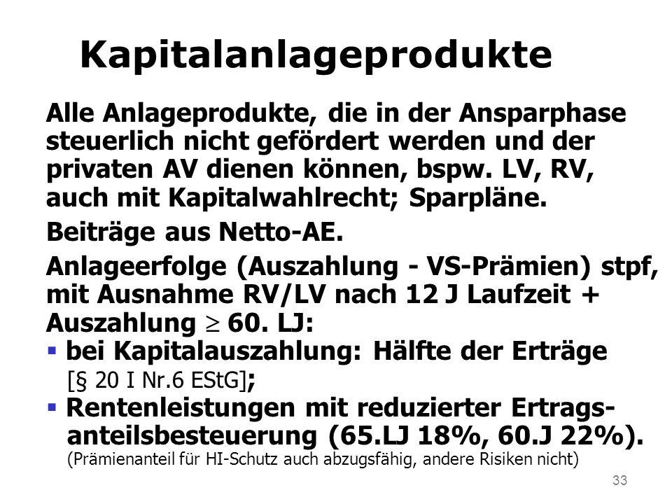 33 Kapitalanlageprodukte Alle Anlageprodukte, die in der Ansparphase steuerlich nicht gefördert werden und der privaten AV dienen können, bspw. LV, RV