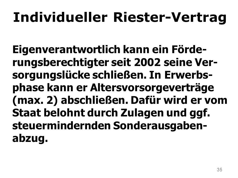 35 Individueller Riester-Vertrag Eigenverantwortlich kann ein Förde- rungsberechtigter seit 2002 seine Ver- sorgungslücke schließen. In Erwerbs- phase