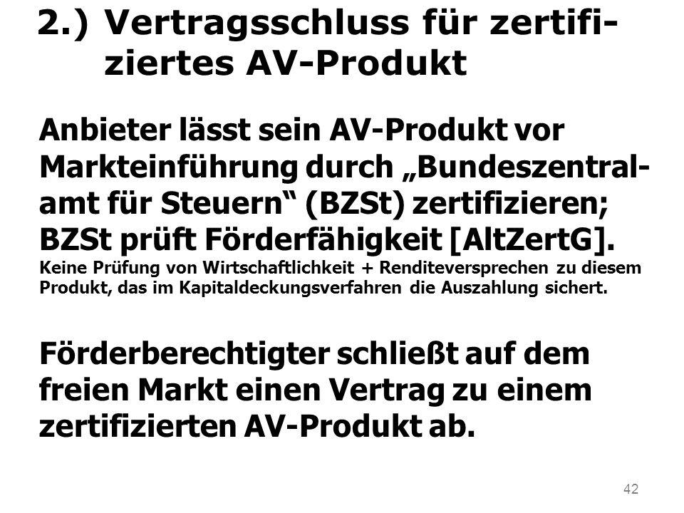 42 2.)Vertragsschluss für zertifi- ziertes AV-Produkt Anbieter lässt sein AV-Produkt vor Markteinführung durch Bundeszentral- amt für Steuern (BZSt) zertifizieren; BZSt prüft Förderfähigkeit [AltZertG].