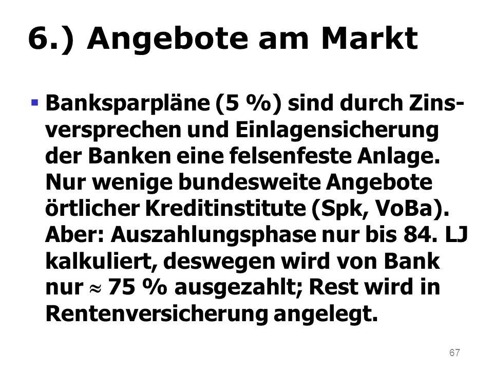 67 6.) Angebote am Markt Banksparpläne (5 %) sind durch Zins- versprechen und Einlagensicherung der Banken eine felsenfeste Anlage. Nur wenige bundesw