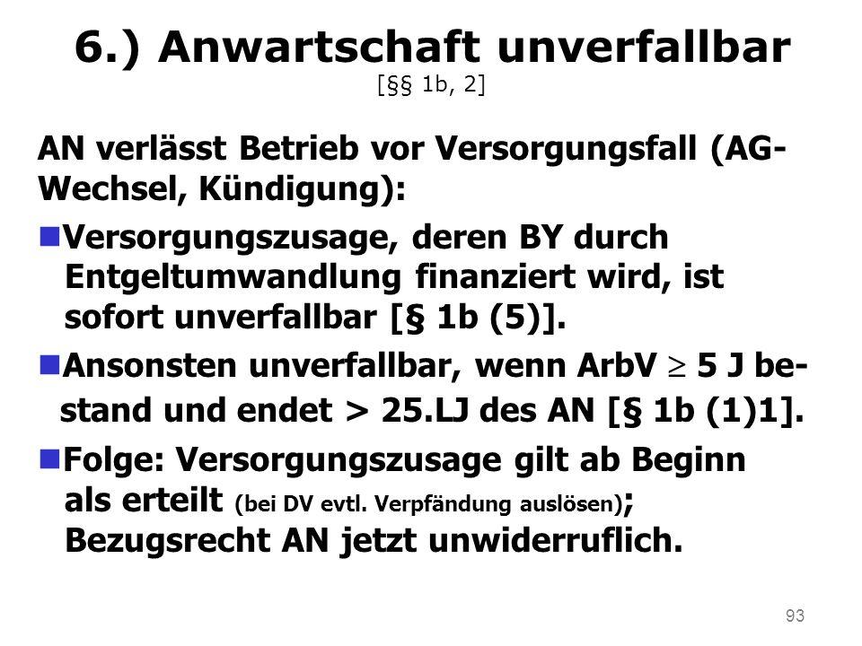 93 6.) Anwartschaft unverfallbar [§§ 1b, 2] AN verlässt Betrieb vor Versorgungsfall (AG- Wechsel, Kündigung): nVersorgungszusage, deren BY durch Entge