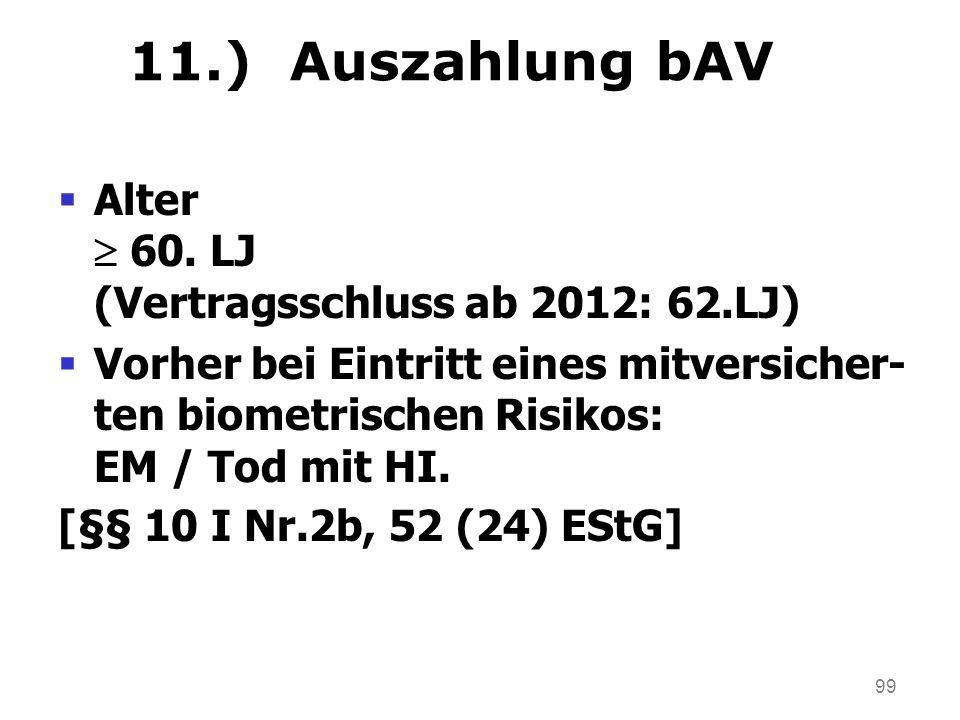 99 11.) Auszahlung bAV Alter 60. LJ (Vertragsschluss ab 2012: 62.LJ) Vorher bei Eintritt eines mitversicher- ten biometrischen Risikos: EM / Tod mit H