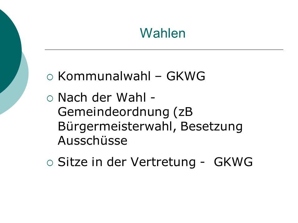 Wahlen Kommunalwahl – GKWG Nach der Wahl - Gemeindeordnung (zB Bürgermeisterwahl, Besetzung Ausschüsse Sitze in der Vertretung - GKWG