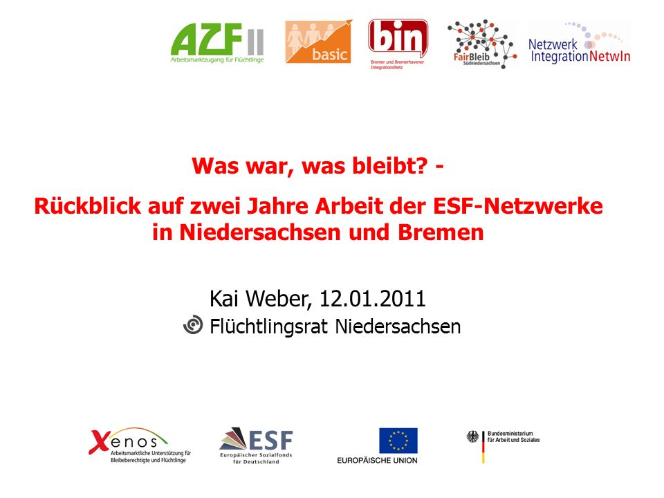 Was war, was bleibt? - Rückblick auf zwei Jahre Arbeit der ESF-Netzwerke in Niedersachsen und Bremen Kai Weber, 12.01.2011 Flüchtlingsrat Niedersachse