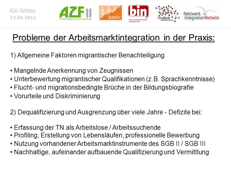 Probleme der Arbeitsmarktintegration in der Praxis: 1) Allgemeine Faktoren migrantischer Benachteiligung Mangelnde Anerkennung von Zeugnissen Unterbewertung migrantischer Qualifikationen (z.B.