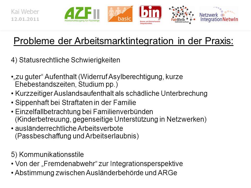 Probleme der Arbeitsmarktintegration in der Praxis: 4) Statusrechtliche Schwierigkeiten zu guter Aufenthalt (Widerruf Asylberechtigung, kurze Ehebesta