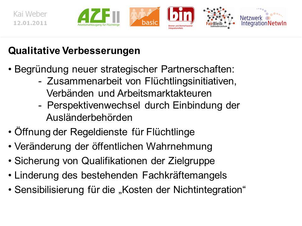 Qualitative Verbesserungen Begründung neuer strategischer Partnerschaften: - Zusammenarbeit von Flüchtlingsinitiativen, Verbänden und Arbeitsmarktakte