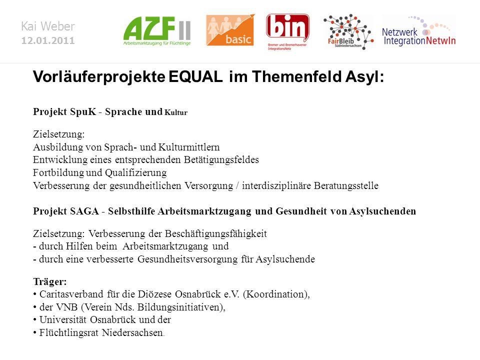 Kai Weber 12.01.2011 Vorläuferprojekte EQUAL im Themenfeld Asyl: Projekt SpuK - Sprache und Kultur Zielsetzung: Ausbildung von Sprach- und Kulturmittl