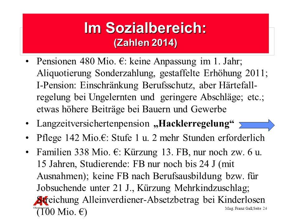 Mag. Franz Gall,Seite 24 Pensionen 480 Mio. : keine Anpassung im 1. Jahr; Aliquotierung Sonderzahlung, gestaffelte Erhöhung 2011; I-Pension: Einschrän