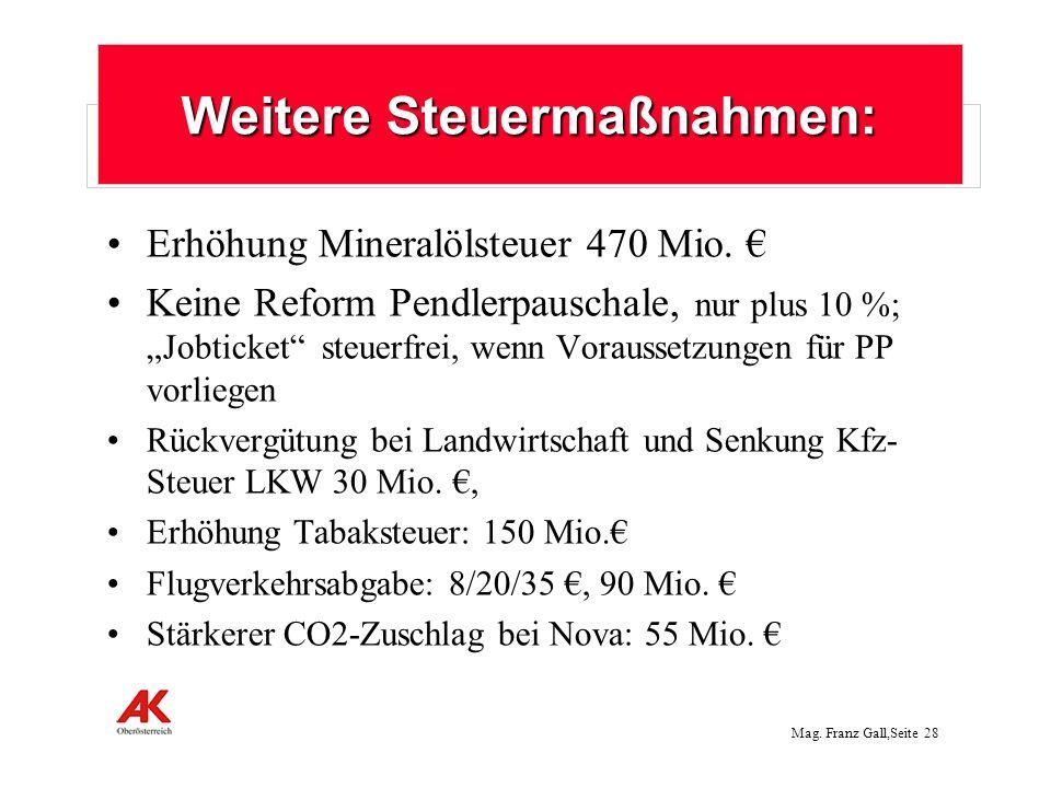 Mag.Franz Gall,Seite 29 Nicht umgesetzt: Vermögensteuer auf große Privatvermögen über 1 Mio.