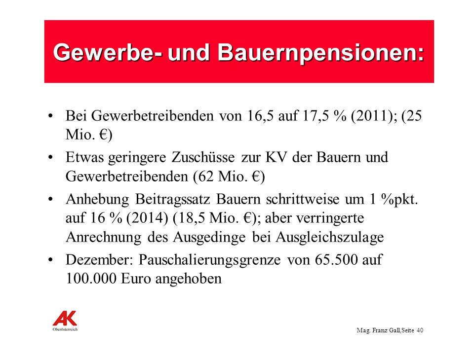 Mag.Franz Gall,Seite 41 Änderungen beim Pflegegeld Einsparungen 142 Mio.
