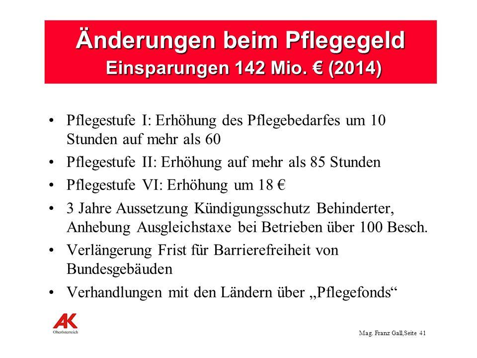 Mag.Franz Gall,Seite 42 Kürzungen bei den Familien: (insges.