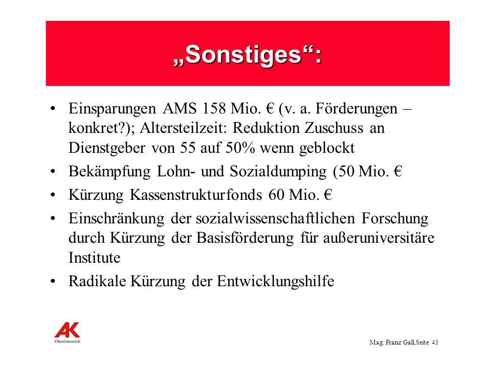 Mag.Franz Gall,Seite 44 Sonderabgabe von Banken: 500 Mio.