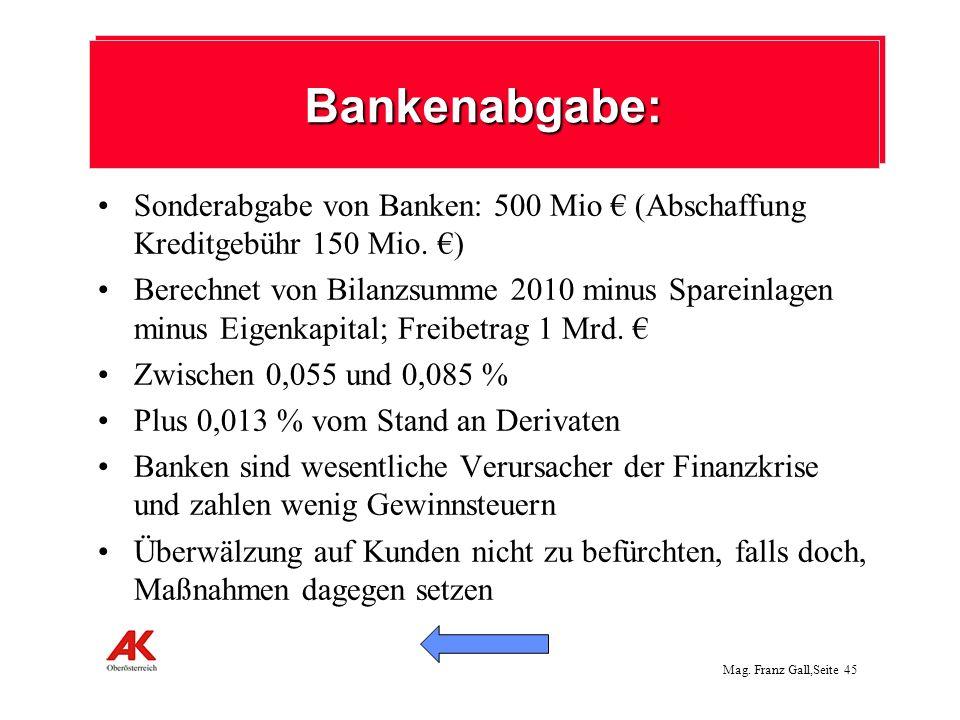 Mag. Franz Gall,Seite 45 Sonderabgabe von Banken: 500 Mio (Abschaffung Kreditgebühr 150 Mio. ) Berechnet von Bilanzsumme 2010 minus Spareinlagen minus