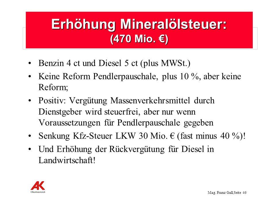 Mag.Franz Gall,Seite 47 Erhöhung Tabaksteuer: 150 Mio.