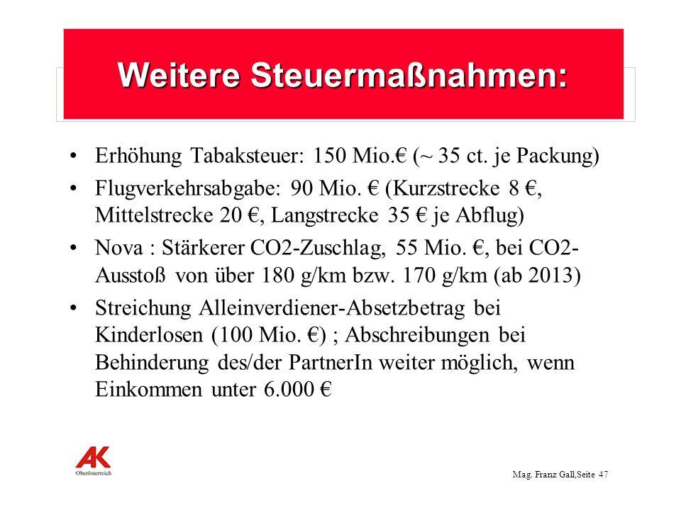 Mag.Franz Gall,Seite 48 Nicht umgesetzt: Vermögensteuer auf große Privatvermögen über 1 Mio.