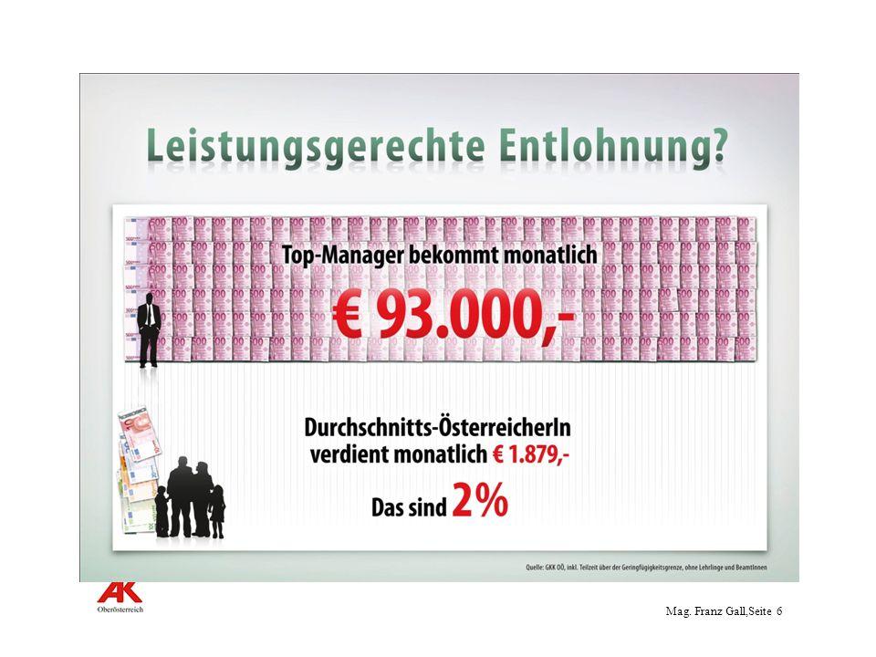 Mag.Franz Gall,Seite 7 7 Leistungsgerechte Entlohnung ?.