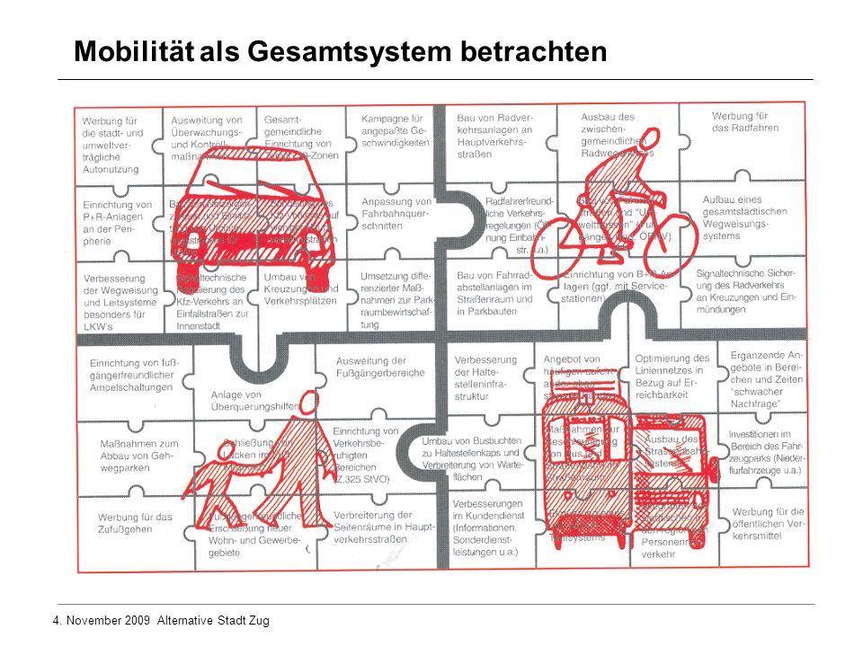 4. November 2009 Alternative Stadt Zug Mobilität als Gesamtsystem betrachten