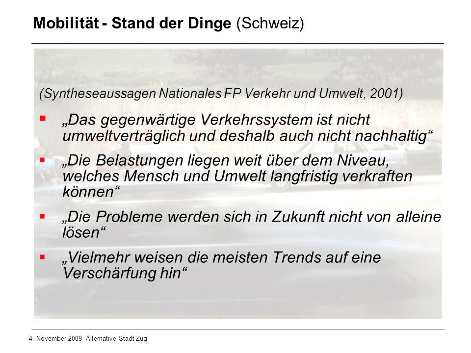 4. November 2009 Alternative Stadt Zug (Syntheseaussagen Nationales FP Verkehr und Umwelt, 2001) Das gegenwärtige Verkehrssystem ist nicht umweltvertr