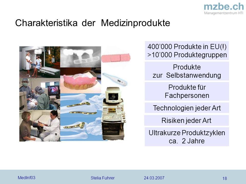 Stelia Fuhrer 24.03.2007 MedInf03 18 Charakteristika der Medizinprodukte 400000 Produkte in EU(!) >10000 Produktegruppen Produkte zur Selbstanwendung Technologien jeder Art Ultrakurze Produktzyklen ca.