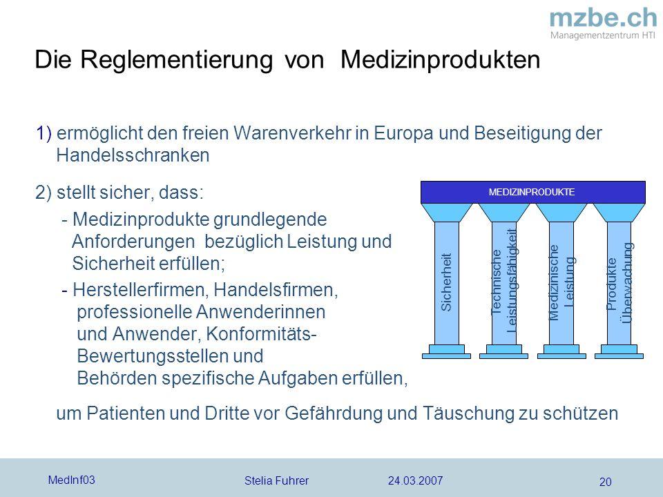 Stelia Fuhrer 24.03.2007 MedInf03 20 1) ermöglicht den freien Warenverkehr in Europa und Beseitigung der Handelsschranken 2) stellt sicher, dass: - Me