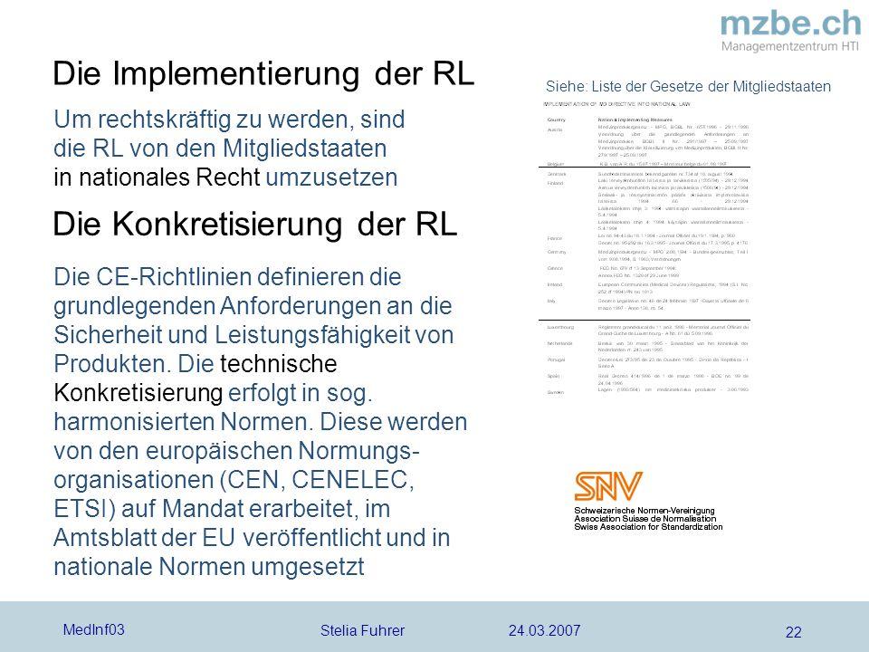 Stelia Fuhrer 24.03.2007 MedInf03 22 Um rechtskräftig zu werden, sind die RL von den Mitgliedstaaten in nationales Recht umzusetzen Die Implementierun