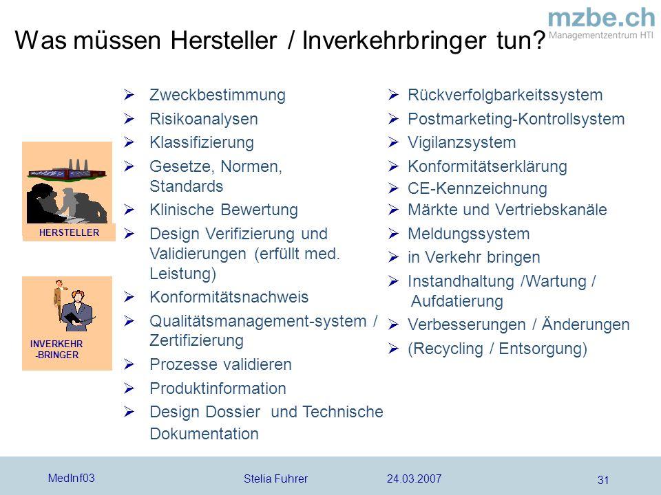 Stelia Fuhrer 24.03.2007 MedInf03 31 Zweckbestimmung Risikoanalysen Klassifizierung Gesetze, Normen, Standards Klinische Bewertung Design Verifizierung und Validierungen (erfüllt med.