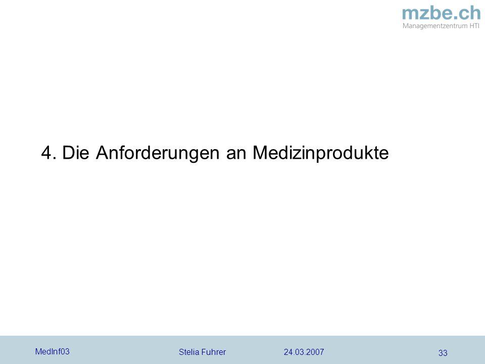 Stelia Fuhrer 24.03.2007 MedInf03 33 4. Die Anforderungen an Medizinprodukte