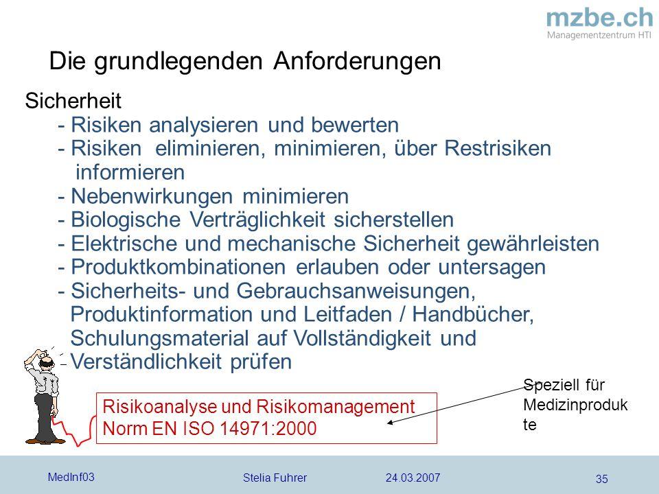 Stelia Fuhrer 24.03.2007 MedInf03 35 Die grundlegenden Anforderungen Sicherheit - Risiken analysieren und bewerten - Risiken eliminieren, minimieren,
