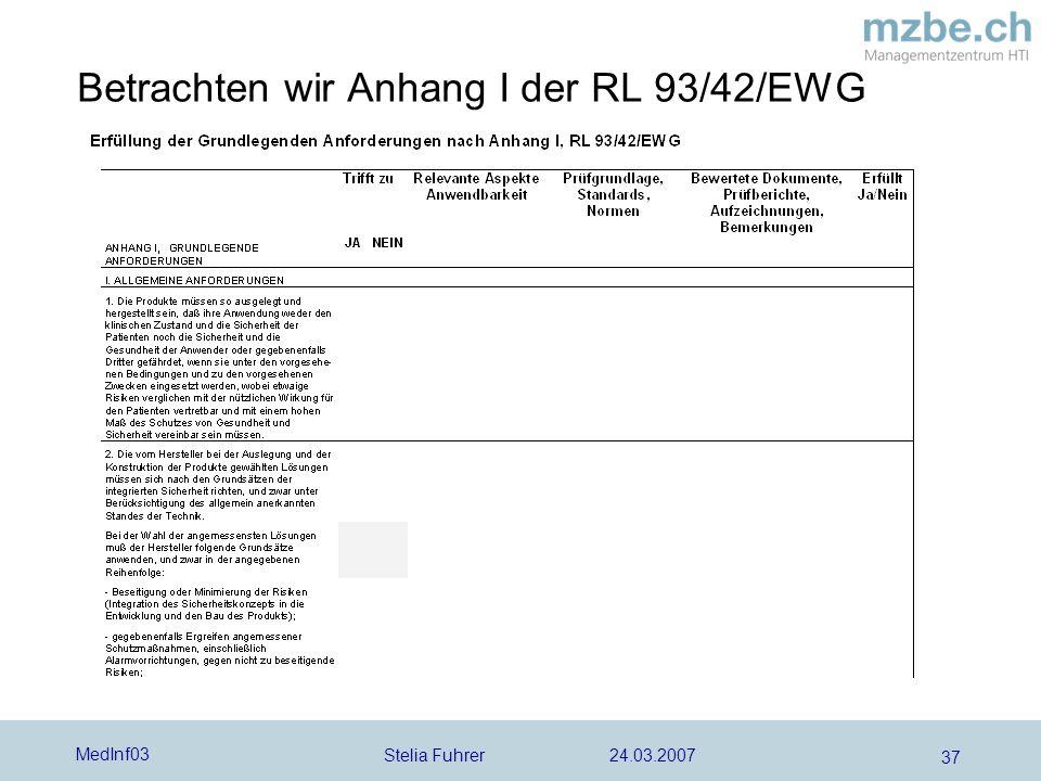 Stelia Fuhrer 24.03.2007 MedInf03 37 Betrachten wir Anhang I der RL 93/42/EWG