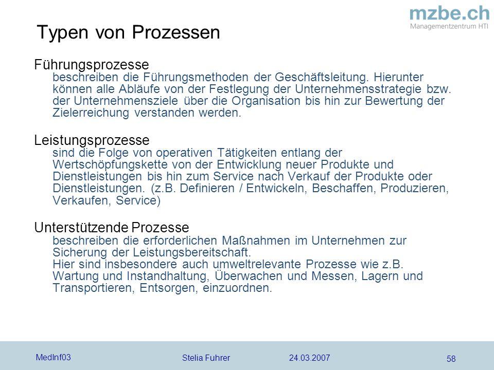 Stelia Fuhrer 24.03.2007 MedInf03 58 Typen von Prozessen Führungsprozesse beschreiben die Führungsmethoden der Geschäftsleitung.