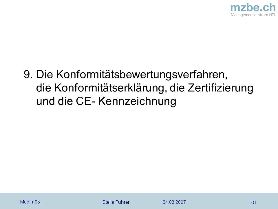 Stelia Fuhrer 24.03.2007 MedInf03 61 9. Die Konformitätsbewertungsverfahren, die Konformitätserklärung, die Zertifizierung und die CE- Kennzeichnung