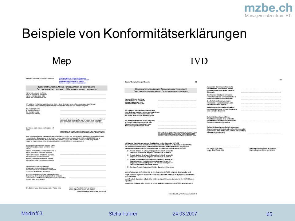 Stelia Fuhrer 24.03.2007 MedInf03 65 Beispiele von Konformitätserklärungen Mep IVD
