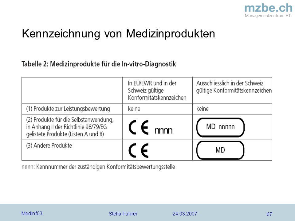 Stelia Fuhrer 24.03.2007 MedInf03 67 Kennzeichnung von Medizinprodukten