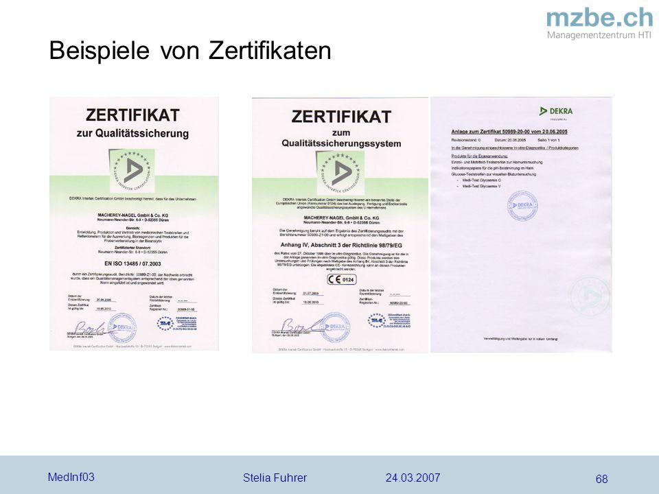 Stelia Fuhrer 24.03.2007 MedInf03 68 Beispiele von Zertifikaten