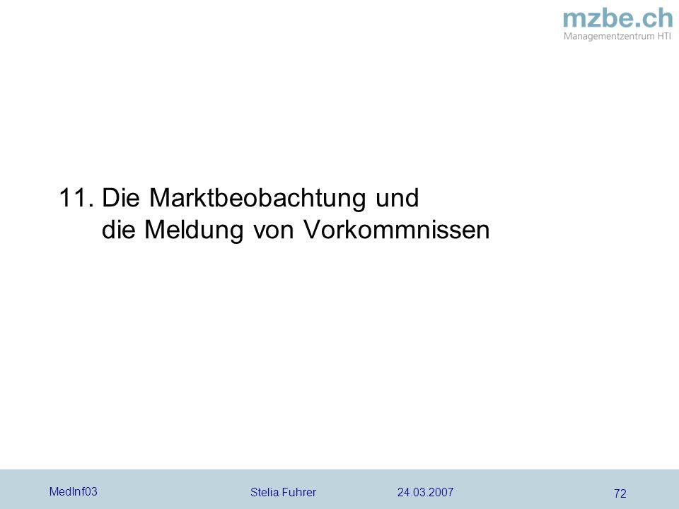 Stelia Fuhrer 24.03.2007 MedInf03 72 11. Die Marktbeobachtung und die Meldung von Vorkommnissen